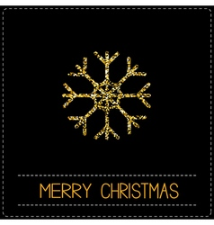 Gold glitter snowflake merry christmas card dash vector
