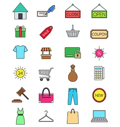 Color shopping icons set vector