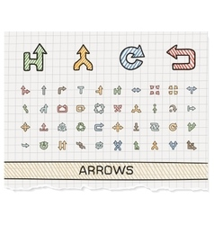 Arrows hand drawing line icons doodle vector
