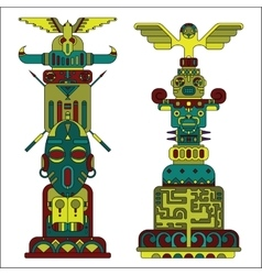 Two colored totem poles vector