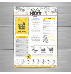 Vintage fast food menu design vector image