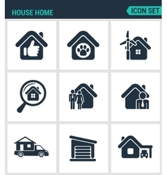 Set of modern icons house home selling vector