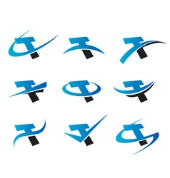 Alphabet T Logo Icons vector image vector image