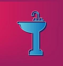 Bathroom sink sign blue 3d printed icon vector