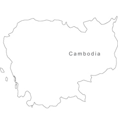 Black White Cambodia Outline Map vector image vector image