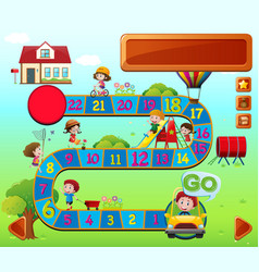Boardgame template with kids playing vector