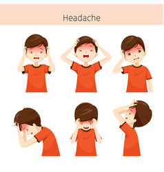 boy with different headache actions vector image vector image
