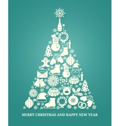 Christmas greeting card with a tree vector