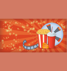 Cinema movie horizontal banner corn cartoon style vector