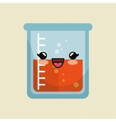 cute kawaii beaker laboratory liquid icon vector image