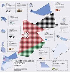 Dot and flag map of hashemite kingdom of jordan vector
