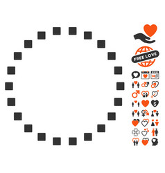 Dotted circle icon with love bonus vector