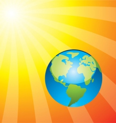 earth and rising sun vector image