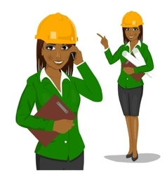 Female architect wearing yellow safety helmet vector