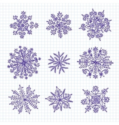 Hand drawn snowflakes vector image vector image