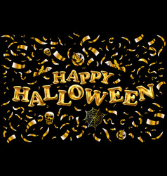 happy halloween gold glitter balloon lettering on vector image vector image