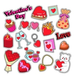 Happy Valentines Day Stickers Patches Badges vector image vector image
