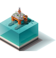 isometric oil rig vector image vector image