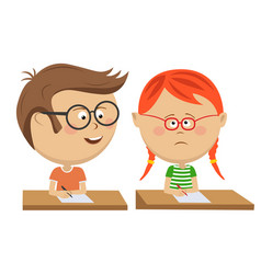 little boy copying his classmate girl on exam vector image vector image