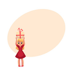 Little girl in red dress holding birthday gift vector