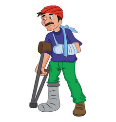Man with an injured head arm and leg vector