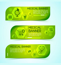 medicine green horizontal banners set vector image vector image