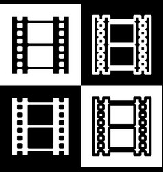 Reel of film sign black and white icons vector