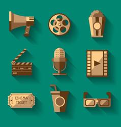 retro cinema icons set vector image