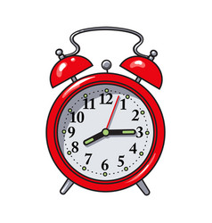 Retro style red analog alarm clock sketch vector
