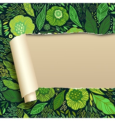 Ripped paper with green floral ornament vector image
