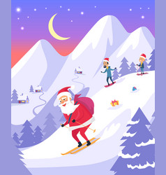 Santa claus with bag sliding down snowy mountains vector