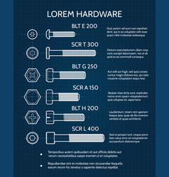 Screw and screw heads technical blueprint vector