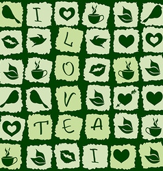 Seamless pattern of green tea puzzle vector image vector image