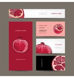 Set of business cards design pomegranate sketch vector image