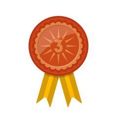 Third place award badge with ribbon vector