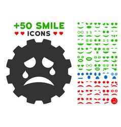 Tiers smiley gear icon with bonus emotion vector