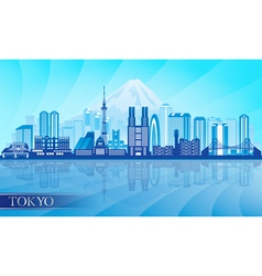 Tokyo city skyline detailed silhouette vector image