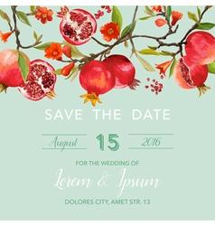 Wedding invitation card - with pomegranates vector