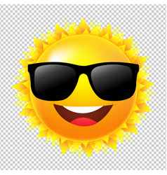 yellow sun with sunglasses vector image vector image