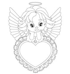 little angel Coloring page vector image