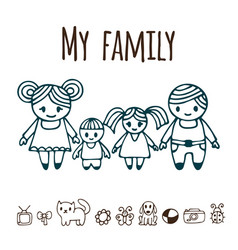 Happy family with two children in cartoon style vector