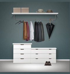 Wardrobe room interior vector
