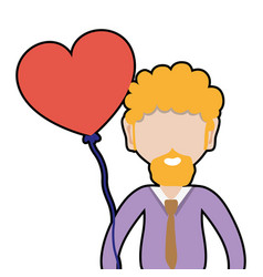 Man with beard and heart balloon in the hand vector