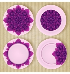 Plates with floral pattern set on retro background vector