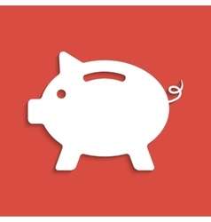 White piggy bank icon on dark red background vector