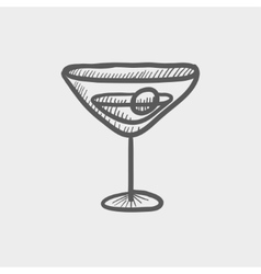 Glass of martini sketch icon vector