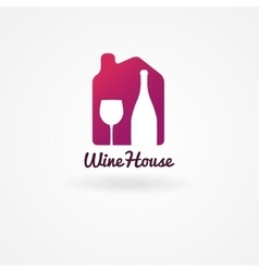 Logo or label design for wine winery or wine vector