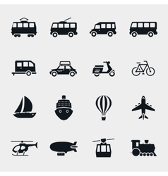 Monochrome transport and vehicle icons vector