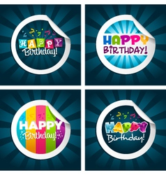 Happy birthday stickers vector
