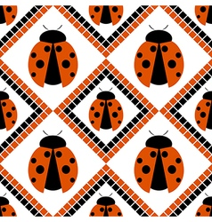 Seamless pattern red background with ladybugs vector